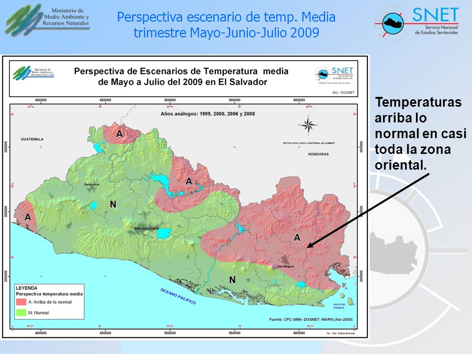 Perspectiva escenario de temp. Media trimestre Mayo-Junio-Julio 2009