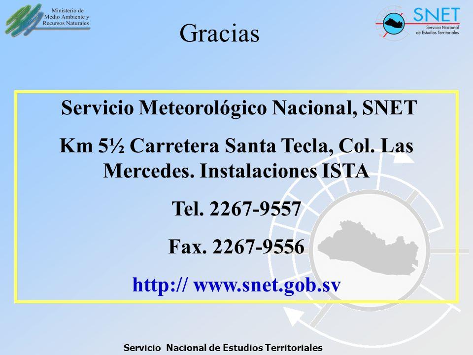 Gracias Servicio Meteorológico Nacional, SNET