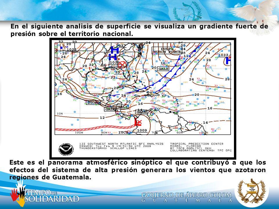 En el siguiente analisis de superficie se visualiza un gradiente fuerte de presión sobre el territorio nacional.