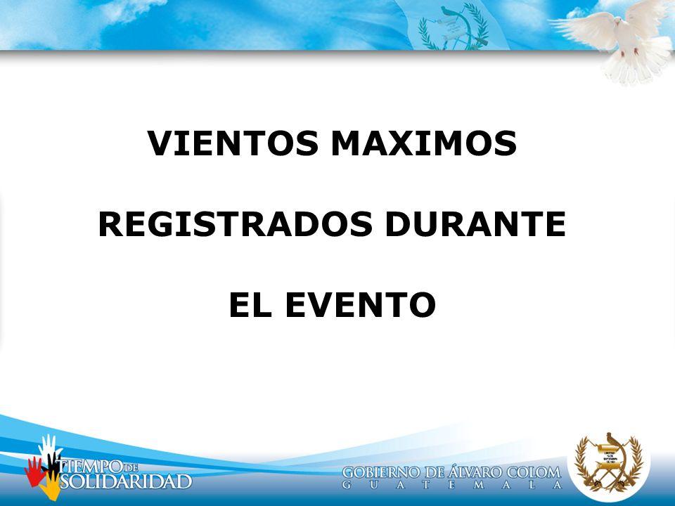 VIENTOS MAXIMOS REGISTRADOS DURANTE EL EVENTO