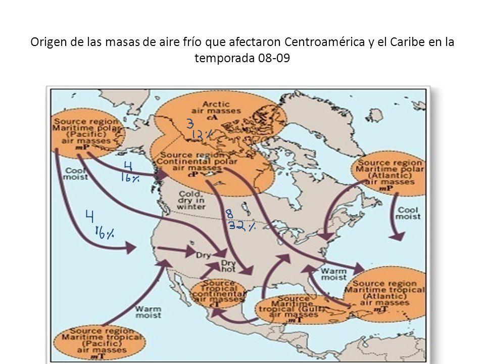 Origen de las masas de aire frío que afectaron Centroamérica y el Caribe en la temporada 08-09