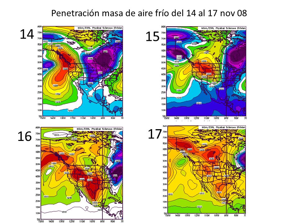 Penetración masa de aire frío del 14 al 17 nov 08
