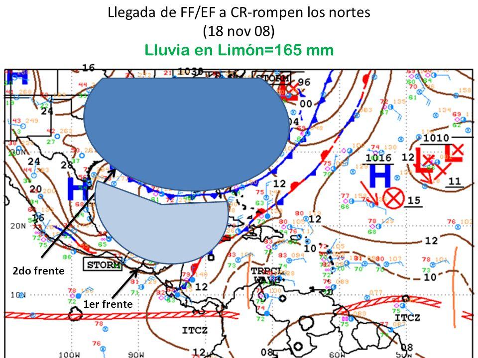 Llegada de FF/EF a CR-rompen los nortes (18 nov 08) Lluvia en Limón=165 mm