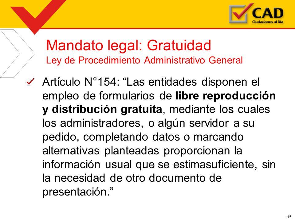 Mandato legal: Gratuidad Ley de Procedimiento Administrativo General