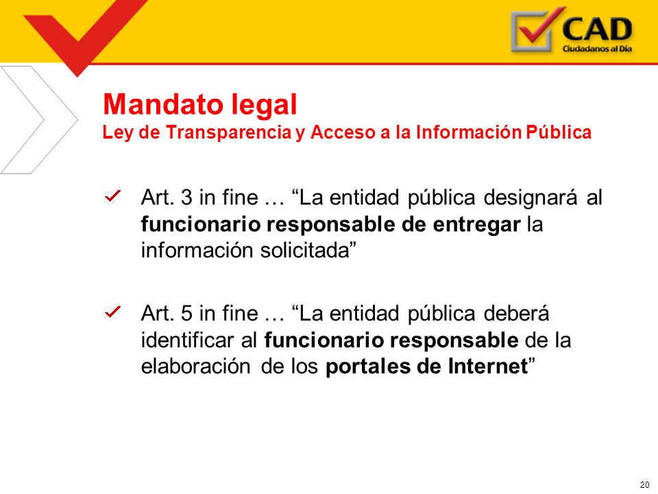 Mandato legal Ley de Transparencia y Acceso a la Información Pública