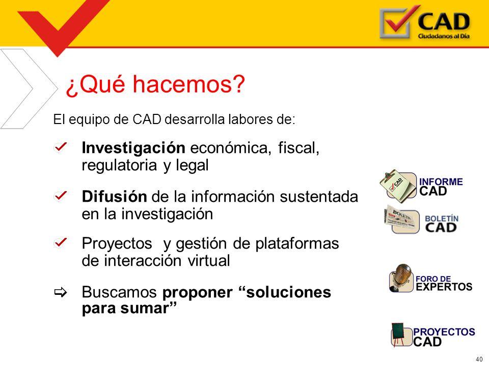 ¿Qué hacemos Investigación económica, fiscal, regulatoria y legal