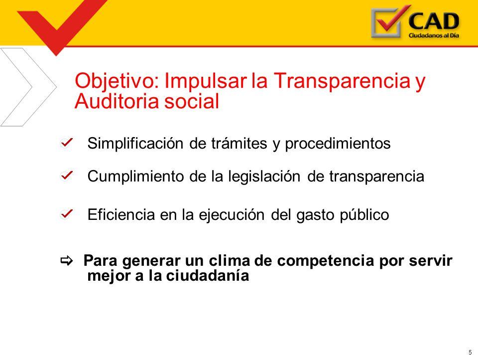 Objetivo: Impulsar la Transparencia y Auditoria social