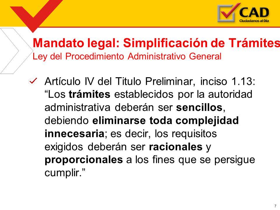 Mandato legal: Simplificación de Trámites Ley del Procedimiento Administrativo General