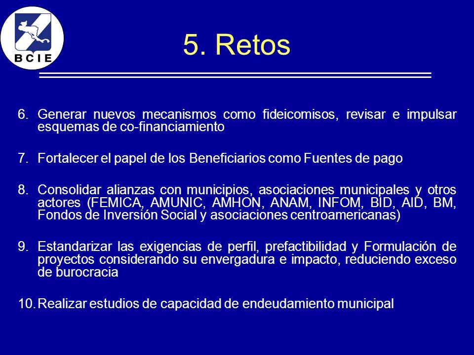 5. RetosGenerar nuevos mecanismos como fideicomisos, revisar e impulsar esquemas de co-financiamiento.