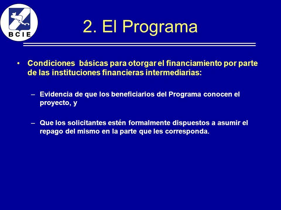 2. El Programa Condiciones básicas para otorgar el financiamiento por parte de las instituciones financieras intermediarias: