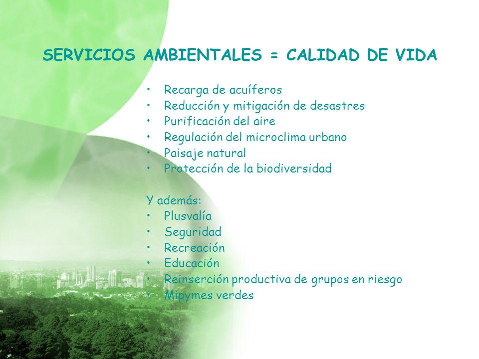 SERVICIOS AMBIENTALES = CALIDAD DE VIDA