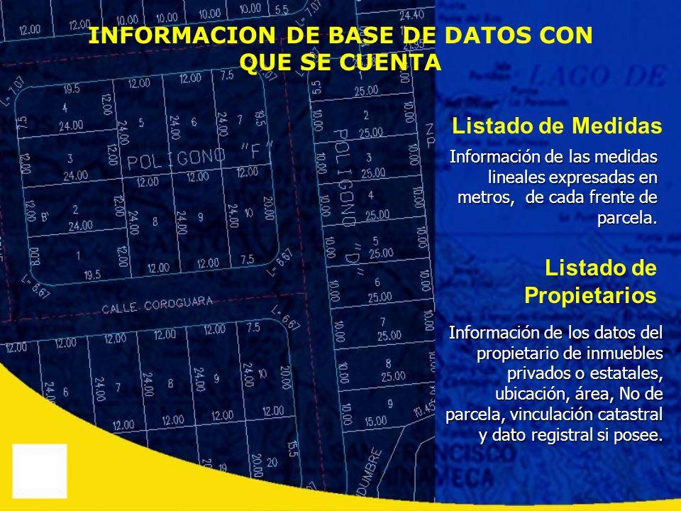 INFORMACION DE BASE DE DATOS CON QUE SE CUENTA