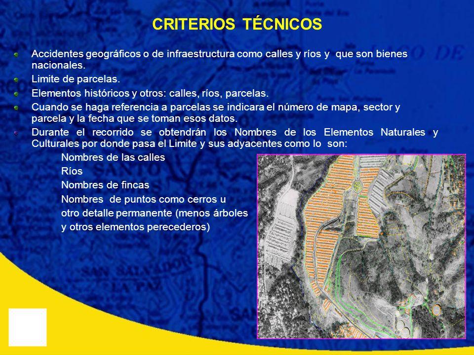 CRITERIOS TÉCNICOS Accidentes geográficos o de infraestructura como calles y ríos y que son bienes nacionales.