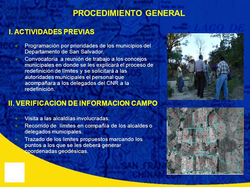 PROCEDIMIENTO GENERAL II. VERIFICACION DE INFORMACION CAMPO