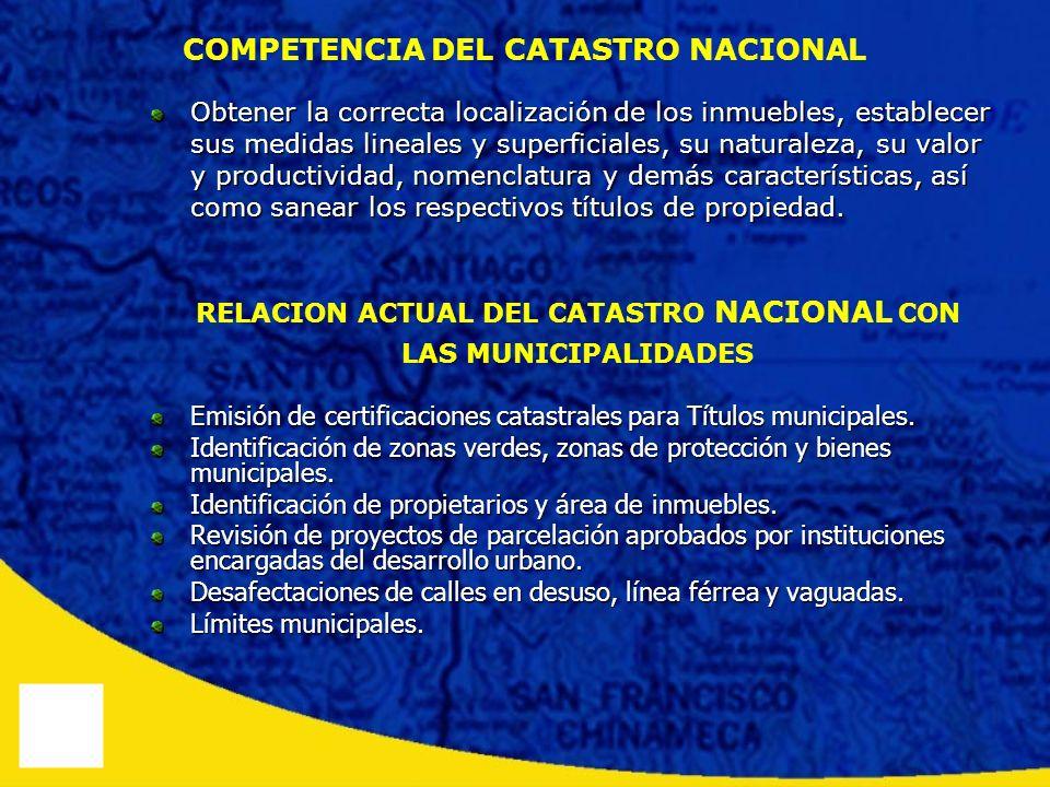 COMPETENCIA DEL CATASTRO NACIONAL