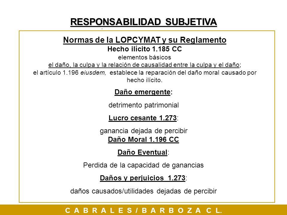 RESPONSABILIDAD SUBJETIVA Normas de la LOPCYMAT y su Reglamento