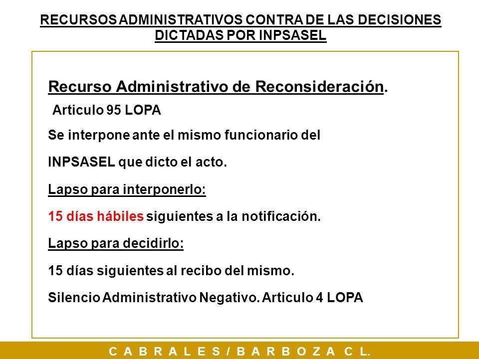 Recurso Administrativo de Reconsideración. Articulo 95 LOPA