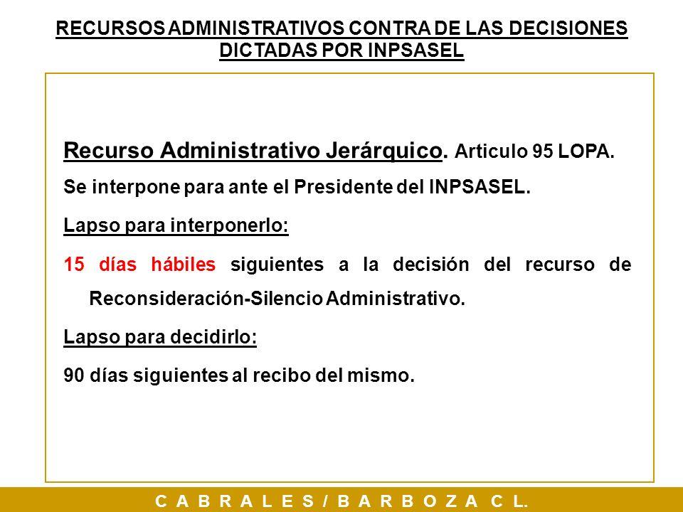 Recurso Administrativo Jerárquico. Articulo 95 LOPA.