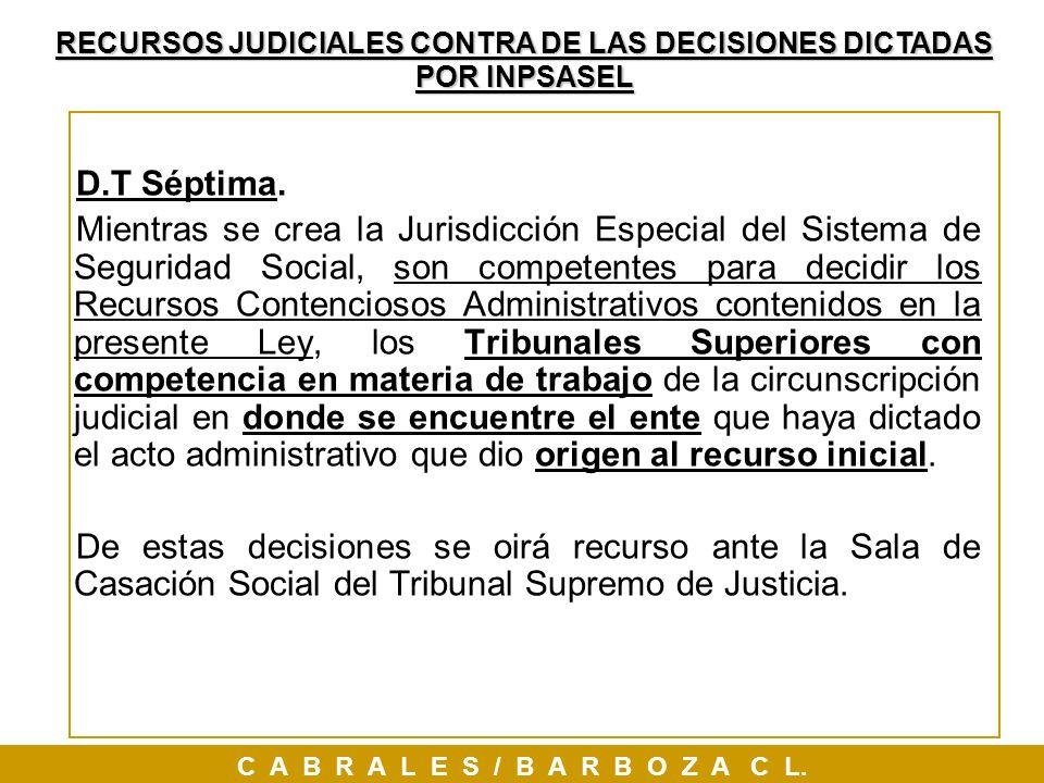 RECURSOS JUDICIALES CONTRA DE LAS DECISIONES DICTADAS POR INPSASEL