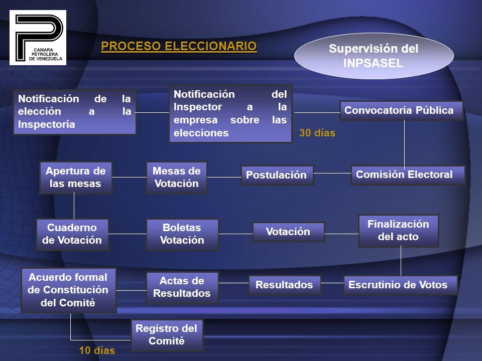 Supervisión del INPSASEL Acuerdo formal de Constitución del Comité