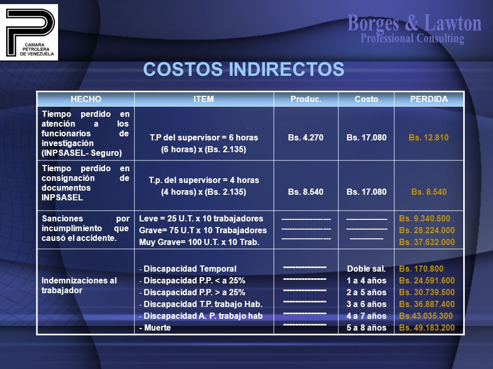 Borges & Lawton COSTOS INDIRECTOS Professional Consulting