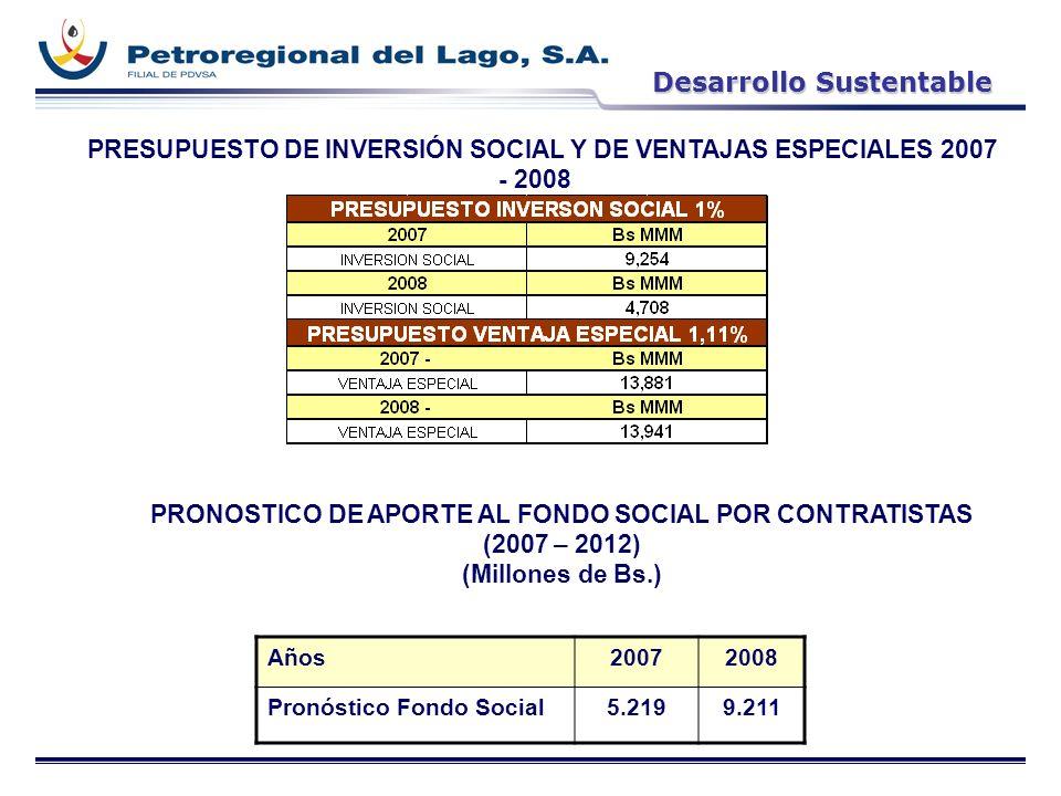 PRESUPUESTO DE INVERSIÓN SOCIAL Y DE VENTAJAS ESPECIALES 2007 - 2008