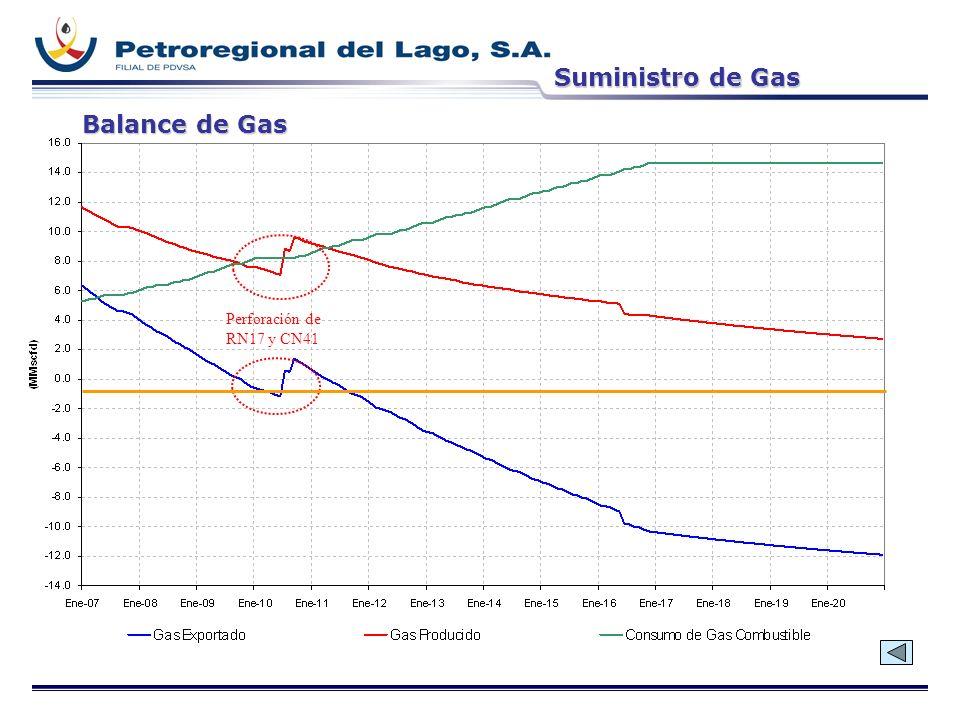 Suministro de Gas Balance de Gas Perforación de RN17 y CN41