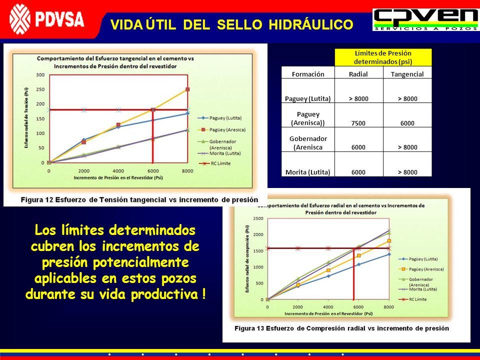VIDA ÚTIL DEL SELLO HIDRÁULICO Límites de Presión determinados (psi)