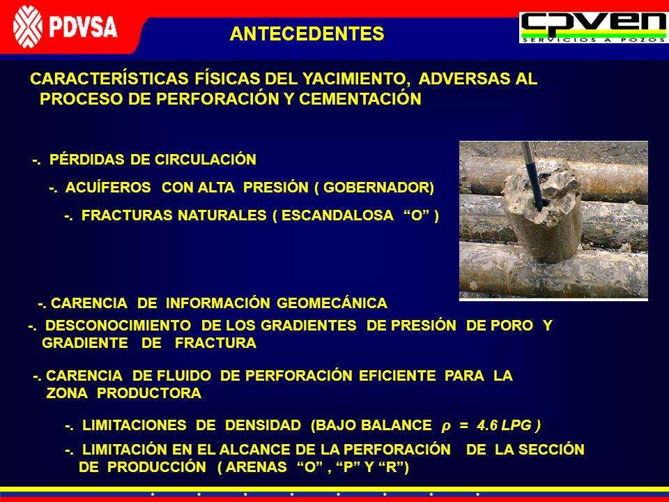 ANTECEDENTESCARACTERÍSTICAS FÍSICAS DEL YACIMIENTO, ADVERSAS AL PROCESO DE PERFORACIÓN Y CEMENTACIÓN.