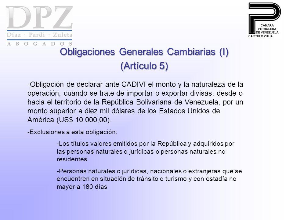 Obligaciones Generales Cambiarias (I) (Artículo 5)