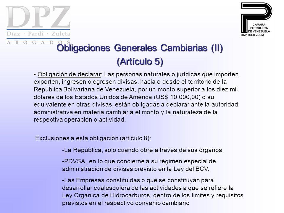 Obligaciones Generales Cambiarias (II)
