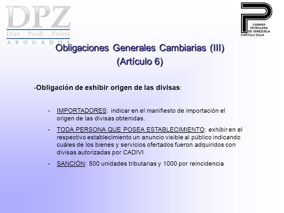 Obligaciones Generales Cambiarias (III)