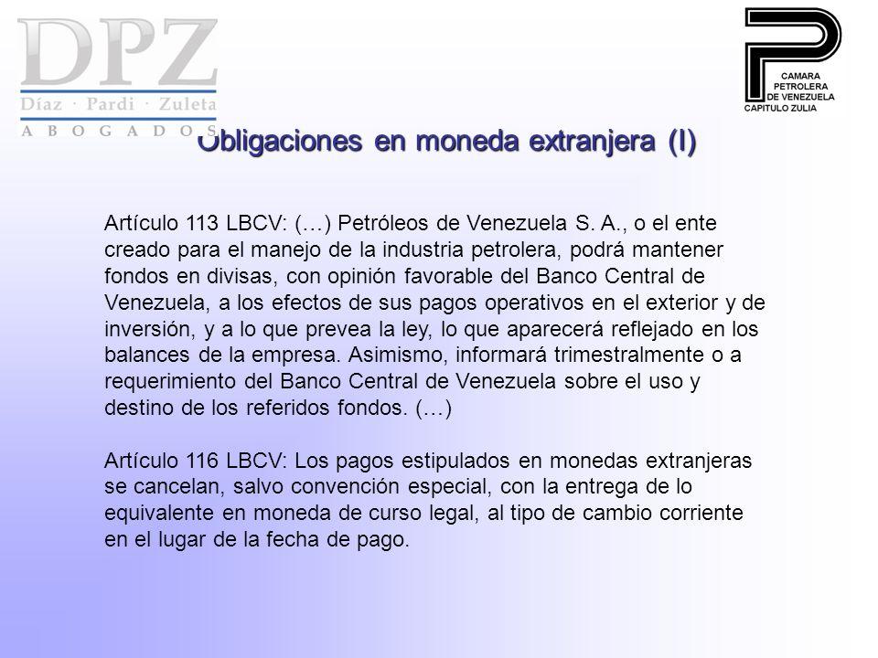 Obligaciones en moneda extranjera (I)