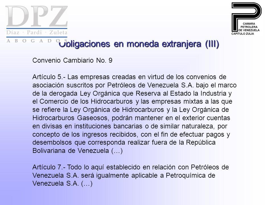 Obligaciones en moneda extranjera (III)