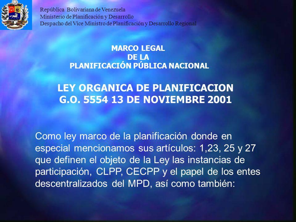 PLANIFICACIÓN PÚBLICA NACIONAL LEY ORGANICA DE PLANIFICACION