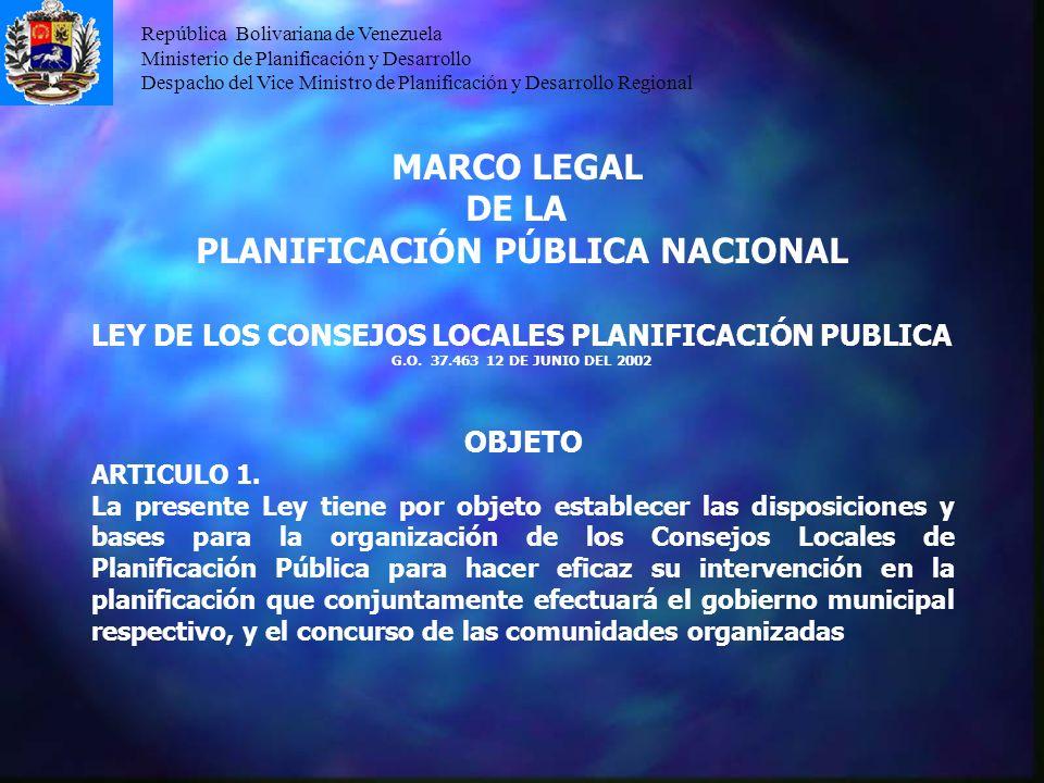 MARCO LEGAL DE LA PLANIFICACIÓN PÚBLICA NACIONAL