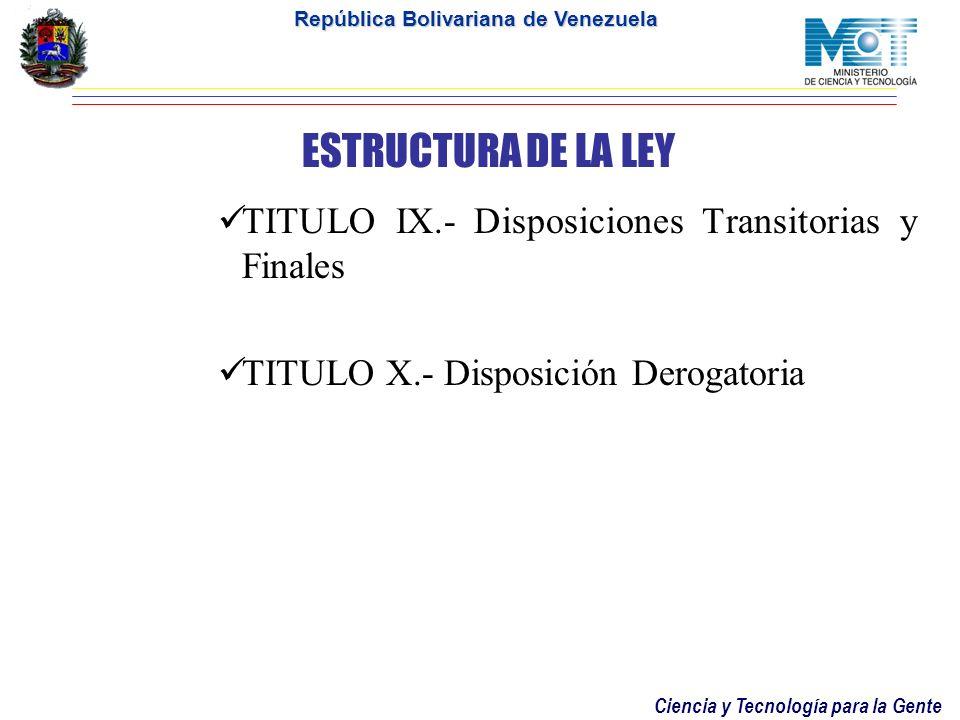 ESTRUCTURA DE LA LEY TITULO IX.- Disposiciones Transitorias y Finales