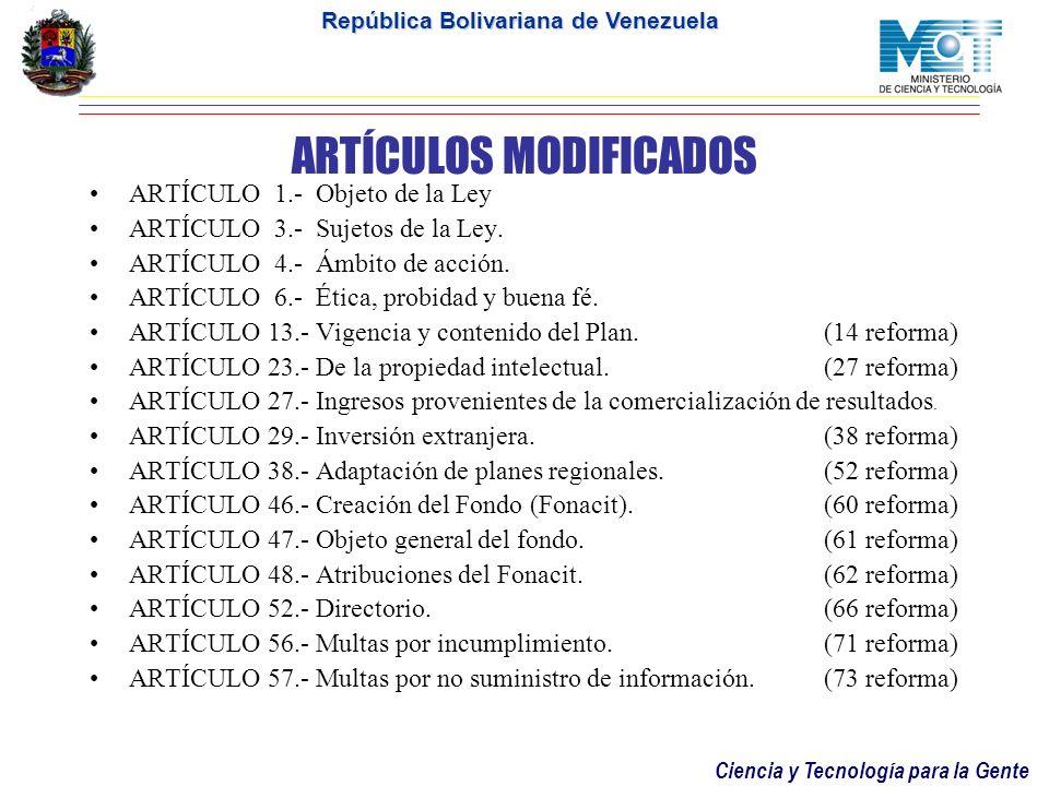 ARTÍCULOS MODIFICADOS