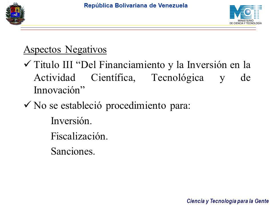 Aspectos NegativosTitulo III Del Financiamiento y la Inversión en la Actividad Científica, Tecnológica y de Innovación