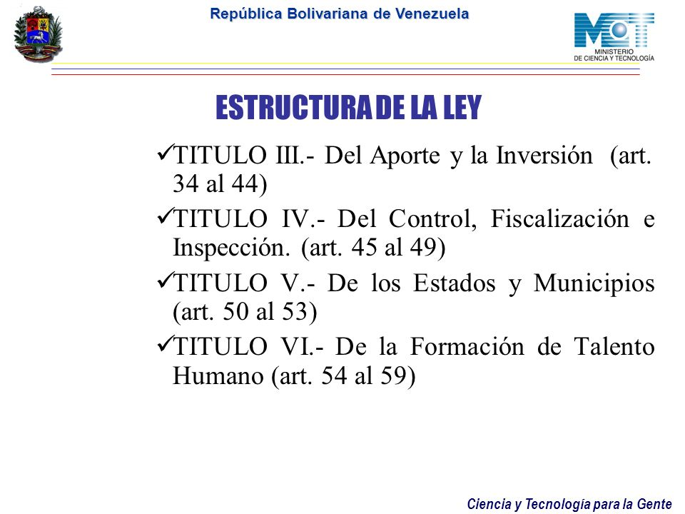 ESTRUCTURA DE LA LEY TITULO III.- Del Aporte y la Inversión (art. 34 al 44) TITULO IV.- Del Control, Fiscalización e Inspección. (art. 45 al 49)