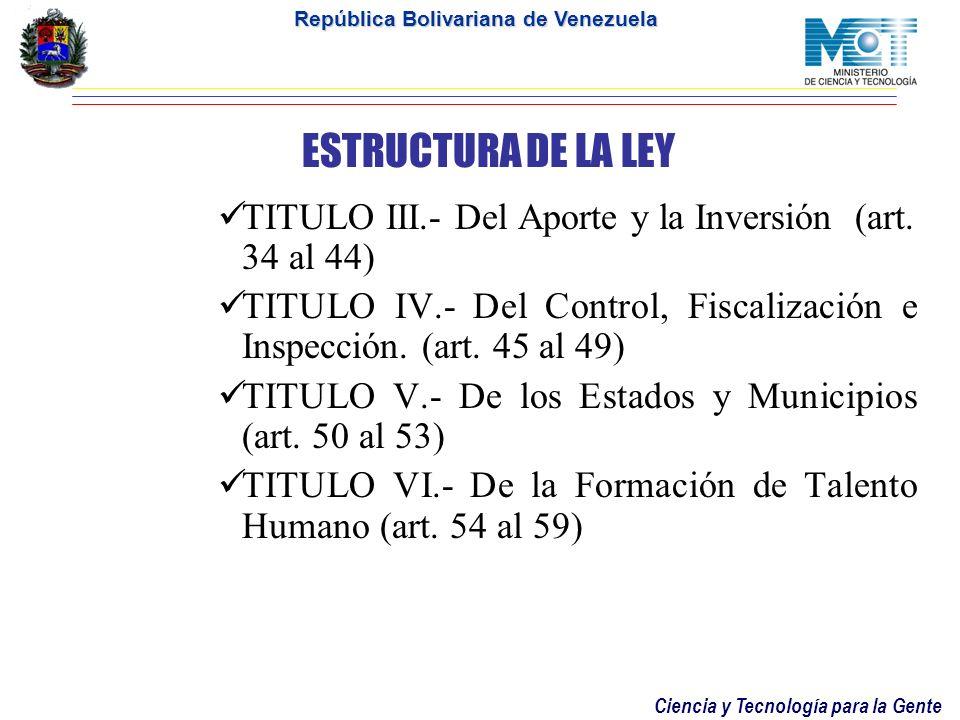 ESTRUCTURA DE LA LEYTITULO III.- Del Aporte y la Inversión (art. 34 al 44) TITULO IV.- Del Control, Fiscalización e Inspección. (art. 45 al 49)