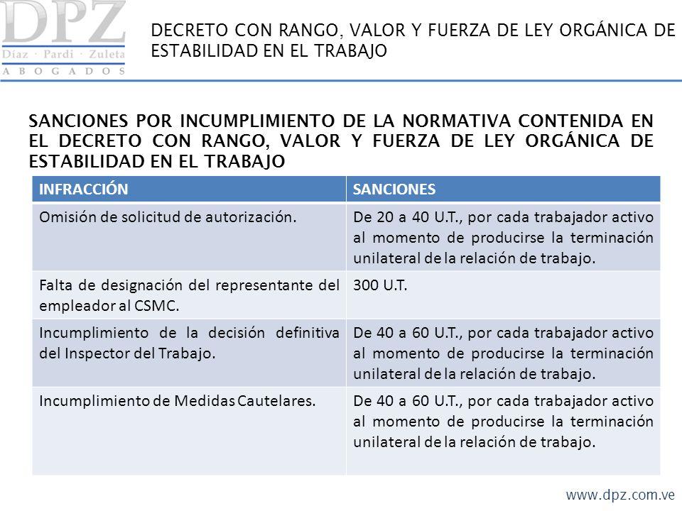 DECRETO CON RANGO, VALOR Y FUERZA DE LEY ORGÁNICA DE ESTABILIDAD EN EL TRABAJO