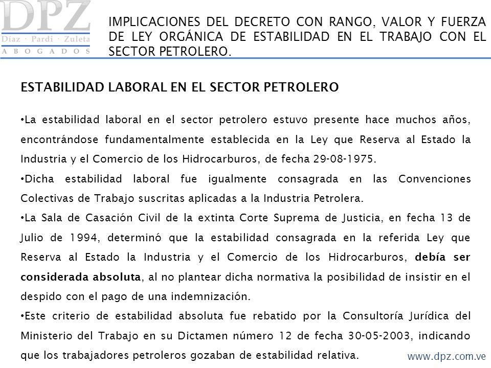 ESTABILIDAD LABORAL EN EL SECTOR PETROLERO