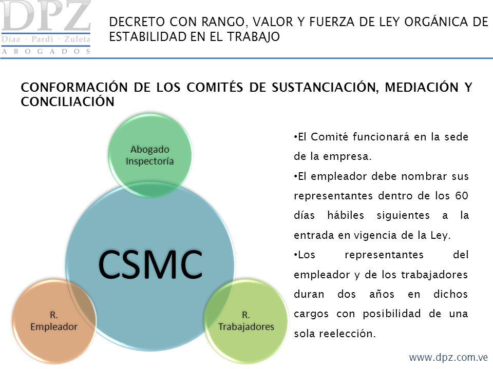 CONFORMACIÓN DE LOS COMITÉS DE SUSTANCIACIÓN, MEDIACIÓN Y CONCILIACIÓN