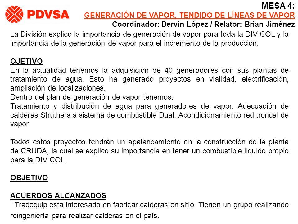 MESA 4: GENERACIÓN DE VAPOR. TENDIDO DE LÍNEAS DE VAPOR