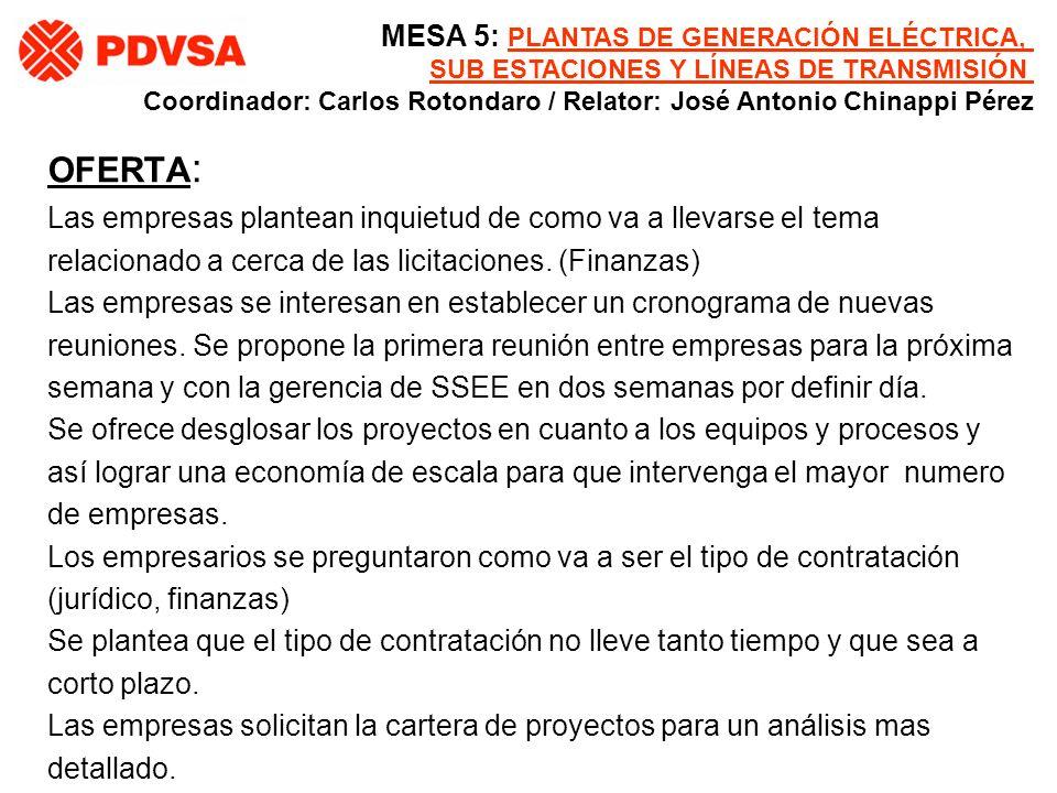 MESA 5: PLANTAS DE GENERACIÓN ELÉCTRICA,