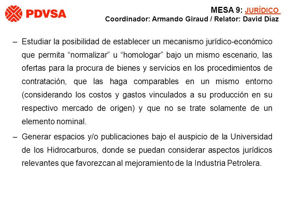 MESA 9: JURÍDICO Coordinador: Armando Giraud / Relator: David Díaz.