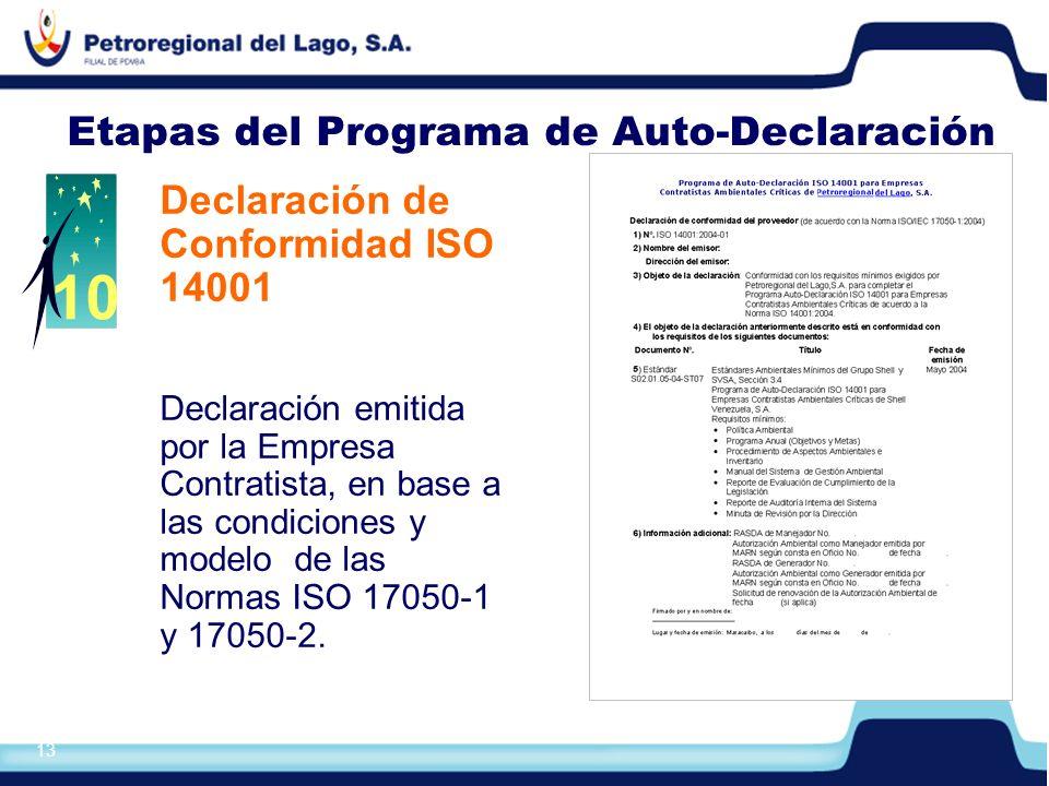 Etapas del Programa de Auto-Declaración
