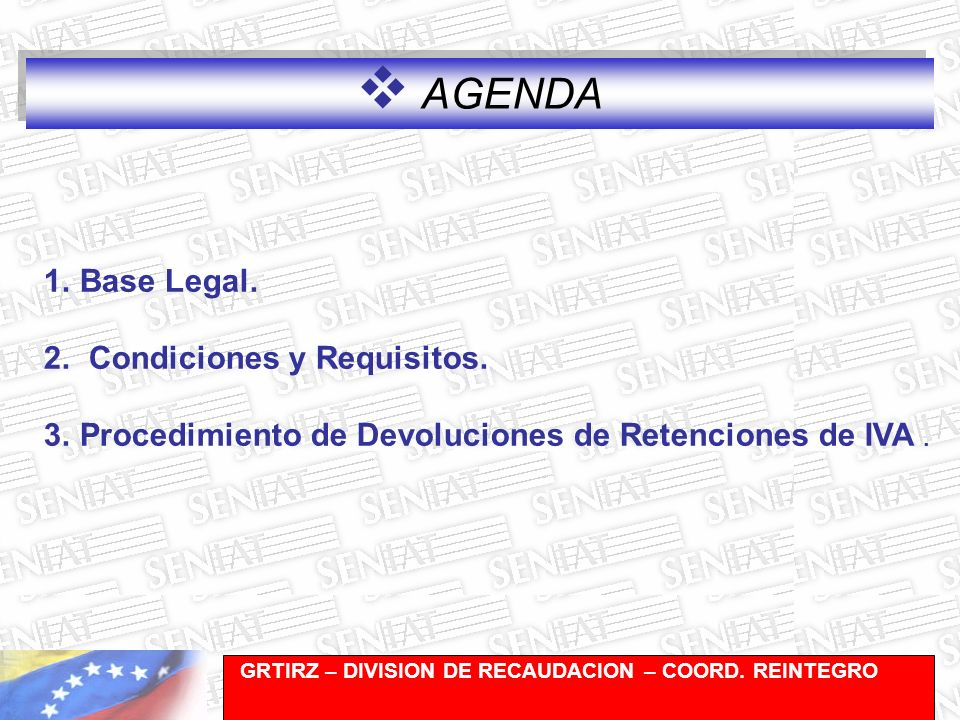 AGENDA Base Legal. Condiciones y Requisitos.