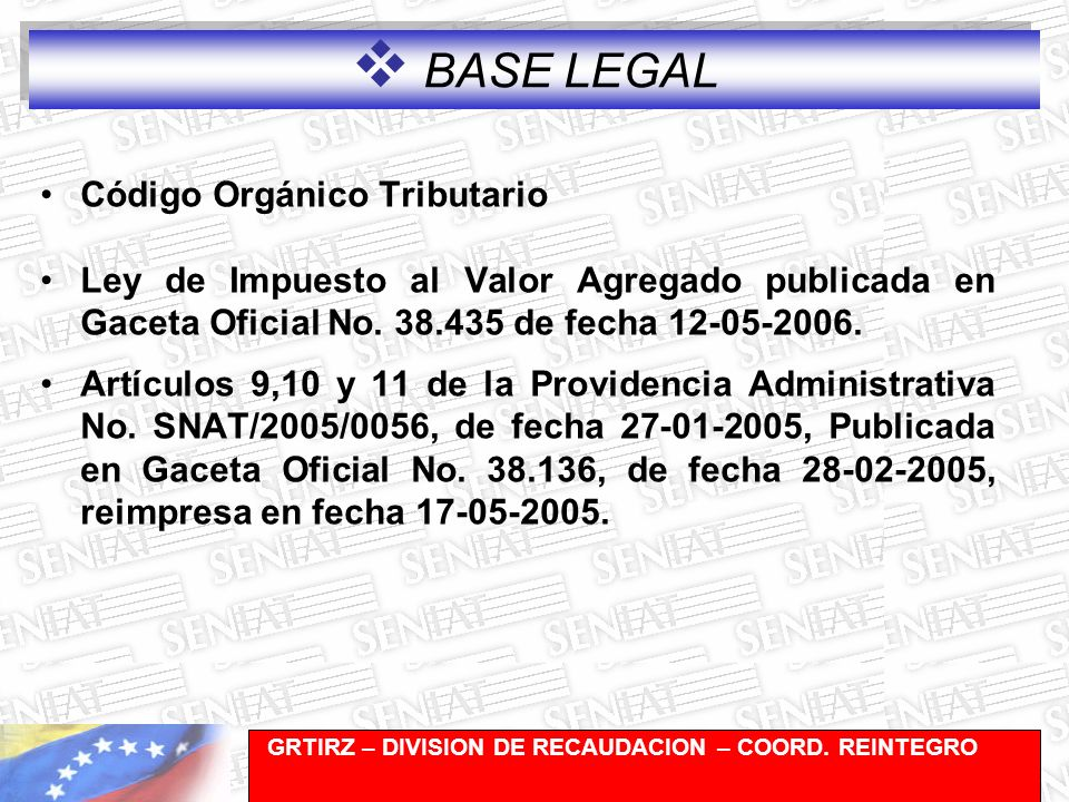 BASE LEGAL Código Orgánico Tributario